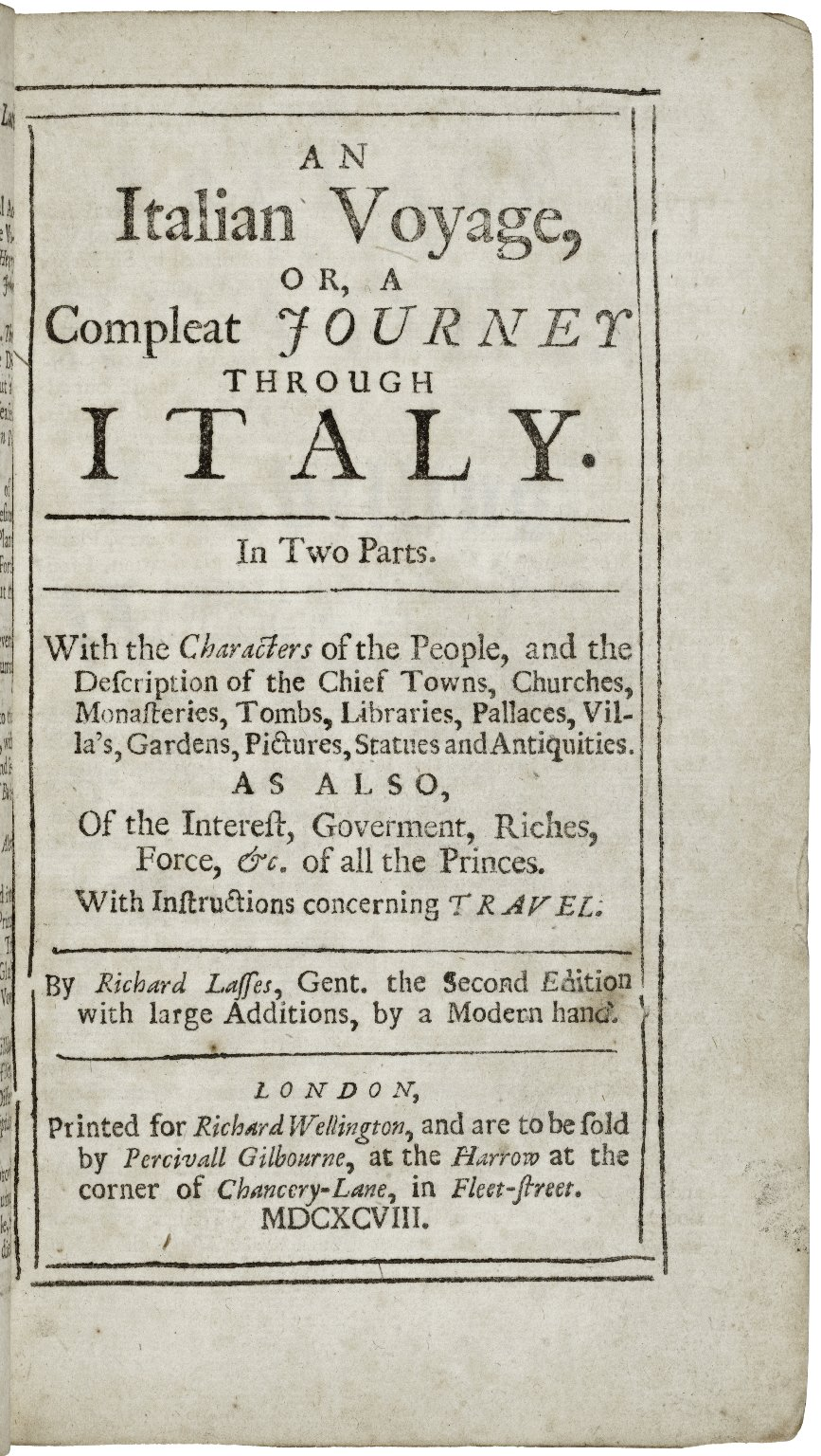 [Voyage of Italy] An Italian voyage, or, A compleat journey through Italy...