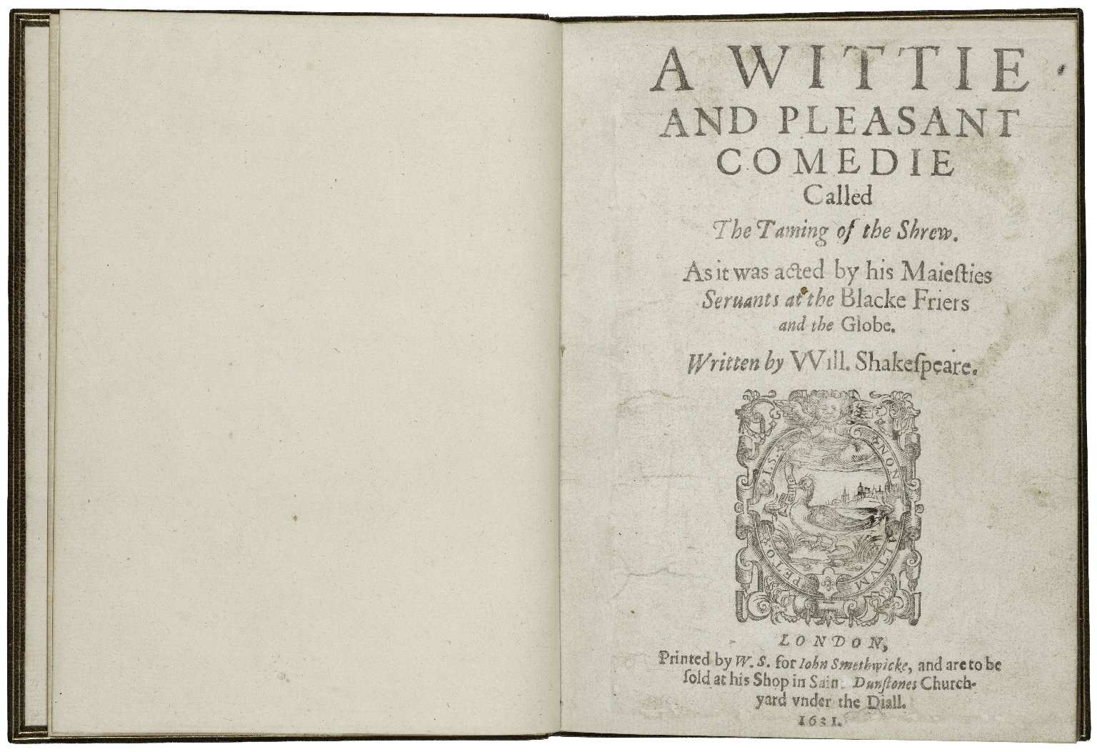 [Taming of the shrew] A wittie and pleasant comedie called The taming of the shrew.