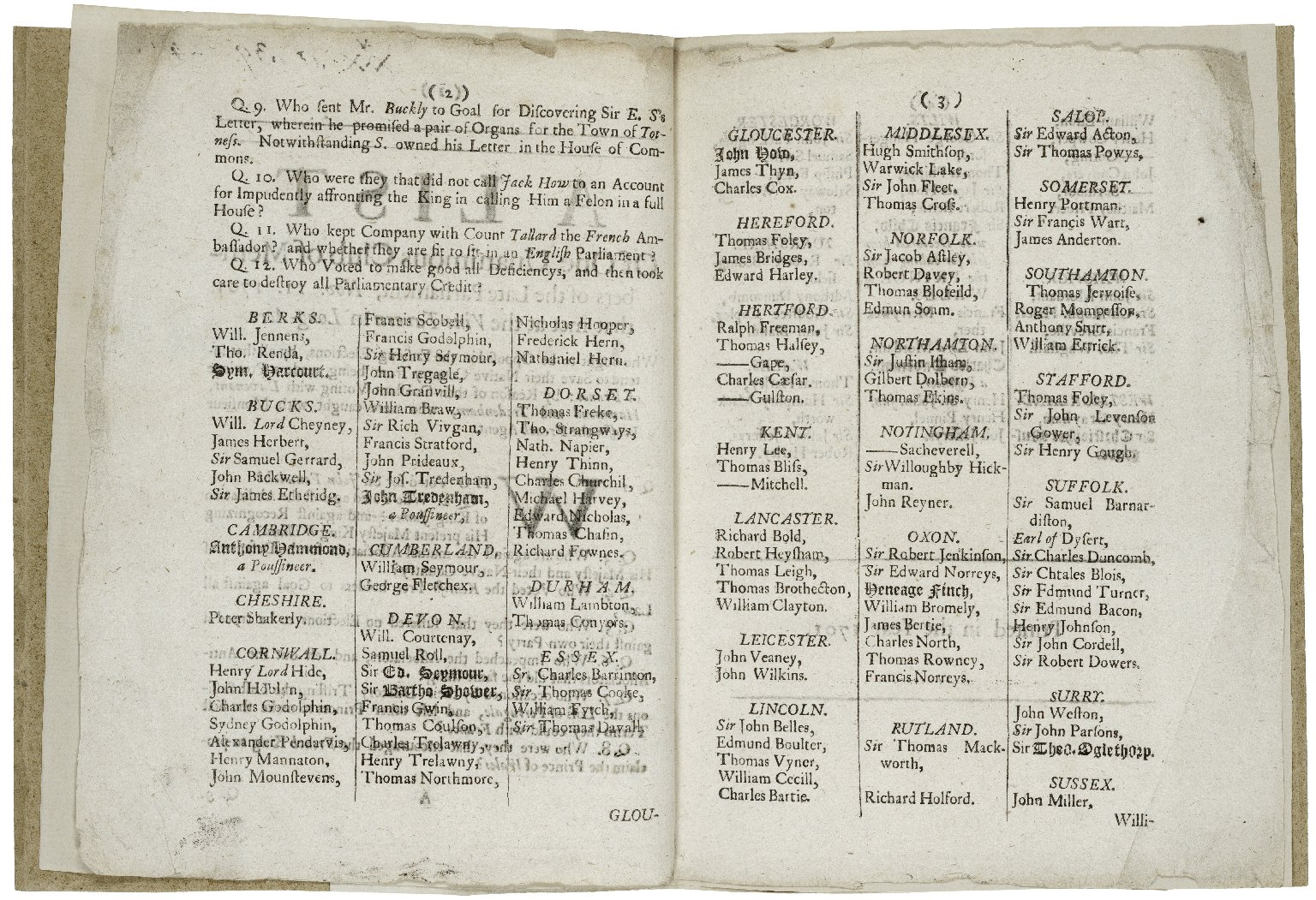 A list of one unanimous club of members of the late Parliament, Nov. 11. 1701. that met at the Vine-Tavern in Long-Acre...