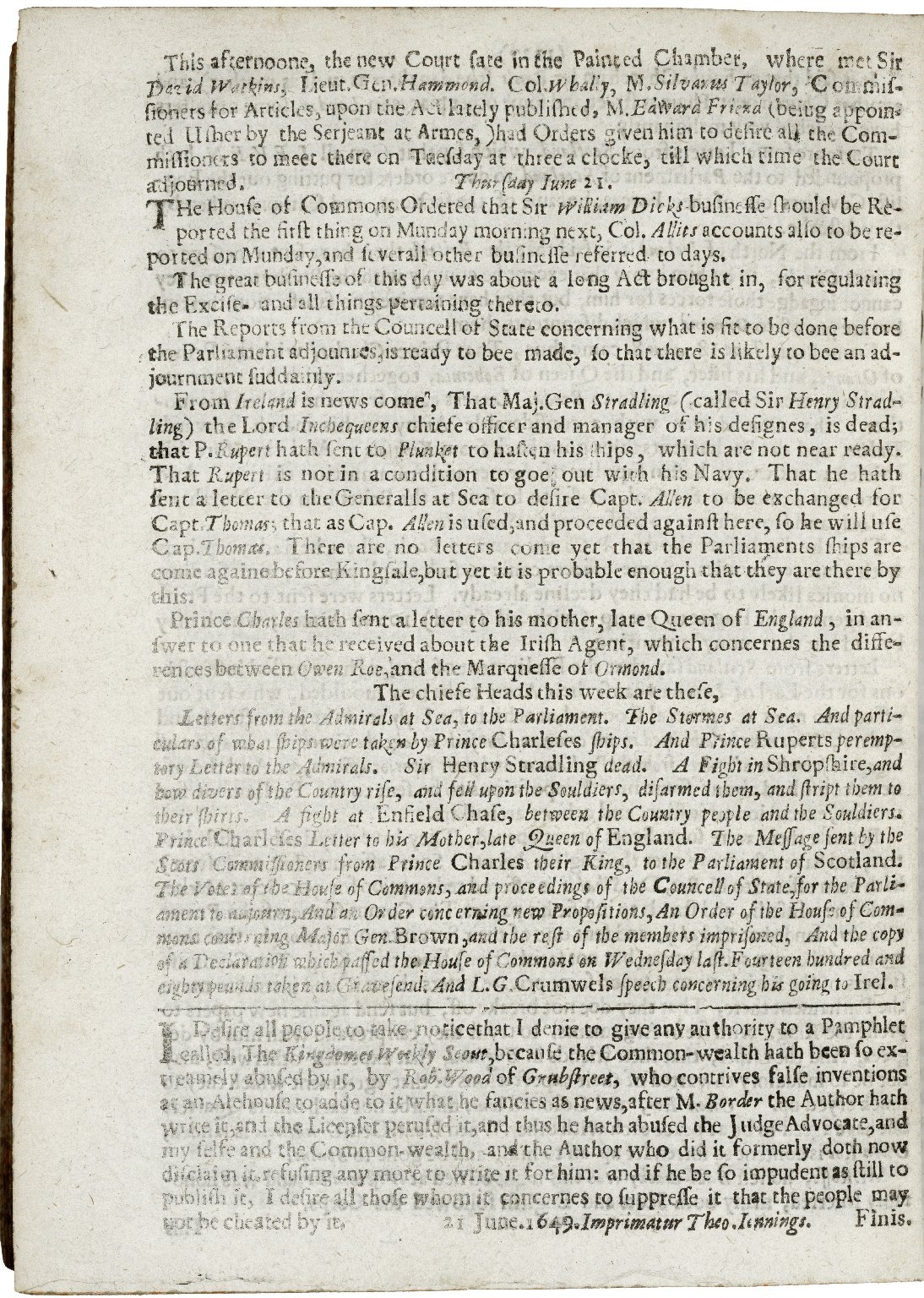 A Perfect summary of exact passages of Parliament: and other choyce intelligence concerning the affaires of England.