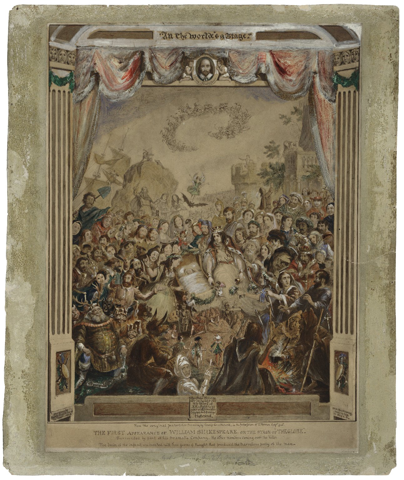 """The first appearance of William Shakespeare, on the stage of """"The Globe,"""" surrounded by part of his Dramatic Company, the other members coming over the hills [graphic] / designed by George Cruikshank, Jany., 1863 ; and this drawing made by him in 1864 & 5."""