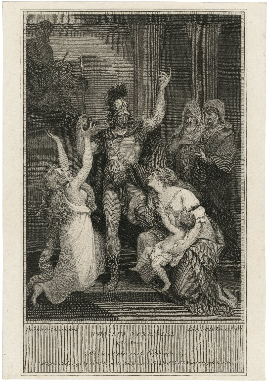 Troilus & Cressida, act 5, sc. 3, Hector, Andromache, Cassandra &c. [graphic] / painted by Thomas Kirk ; engraved by James Fitler.