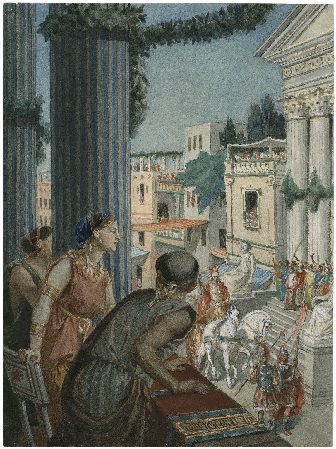 [Troilus and Cressida, I, 2, Cressida and Pandarus view passing warriors] [graphic] / [Alexandre Bida].