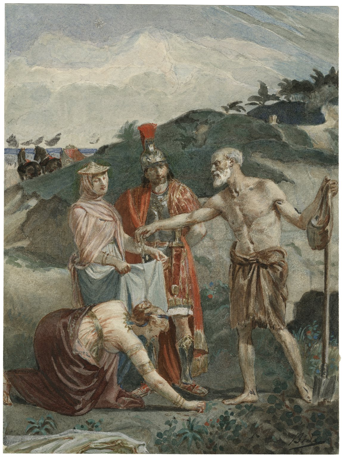 [Timon of Athens, IV, 3, Timon giving gold to the whores, Phrynia and Timandra, Alcibiades] [graphic] / Bida.