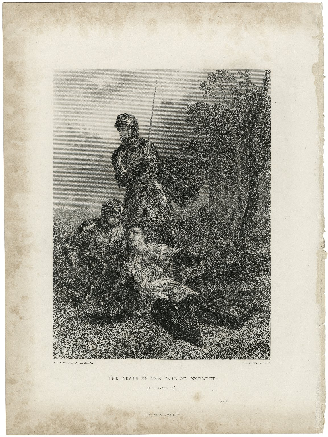 The death of the Earl of Warwick (King Henry VI) [Part III, Act V, scene 2] [graphic] / J. A. Houston 1872 ; T. Brown, sculpt.