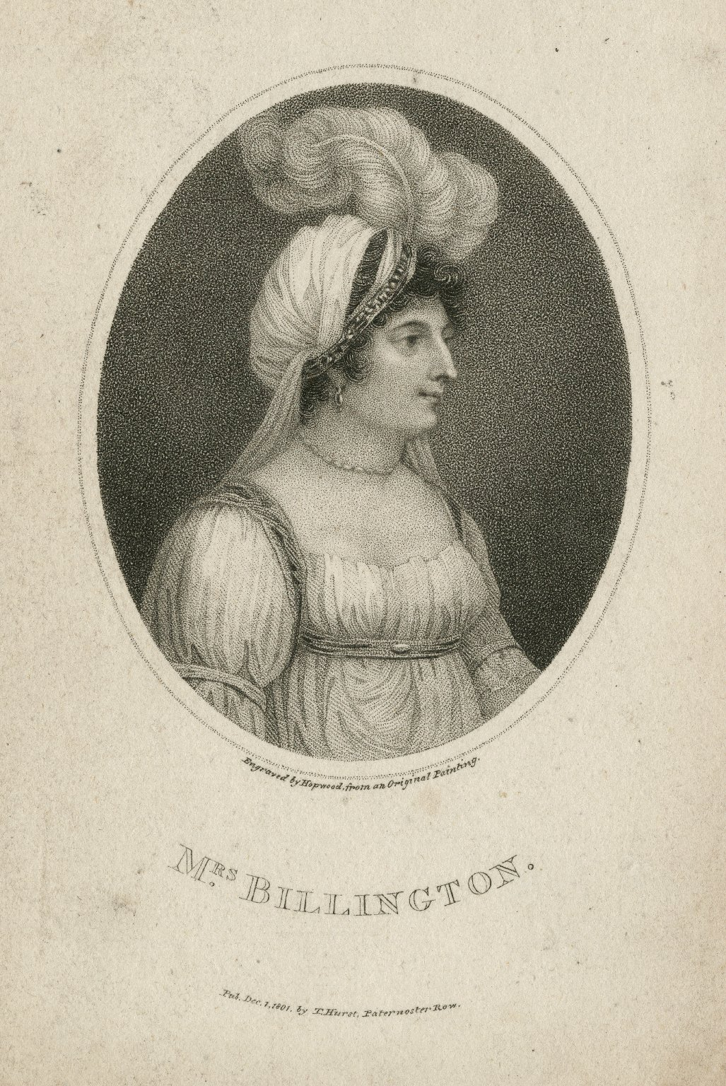 Mrs. Billington [graphic] / engraved by Hopwood from an original painting.