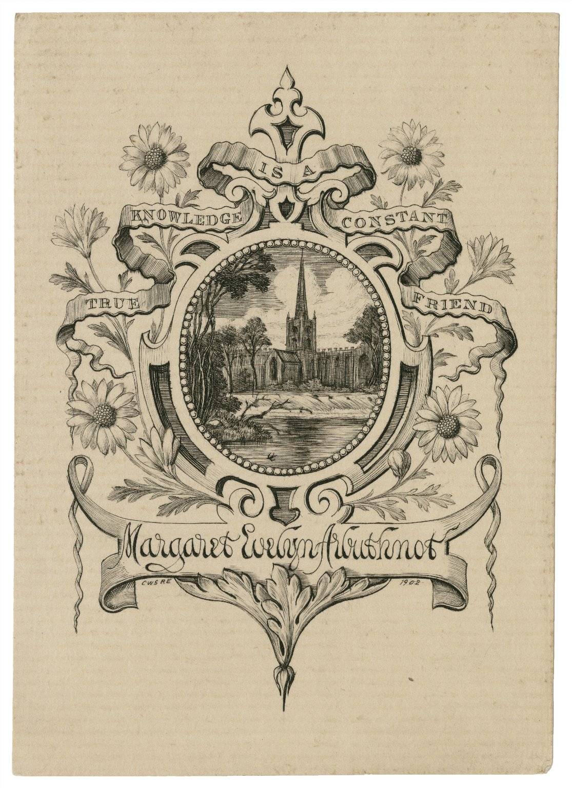 True knowledge is a constant friend, [bookplate for] Margaret Evelyn Arbuthnot [graphic] / C.W.S. R.E., 1902.