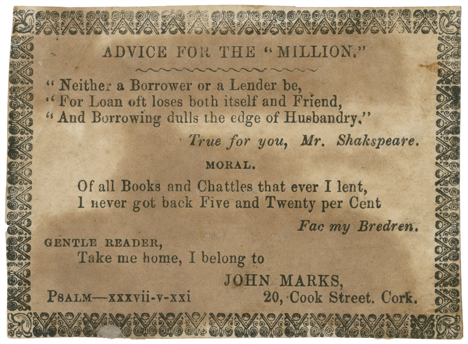 """Advice for the """"million."""" Neither a borrower nor a lender be ... [graphic]."""