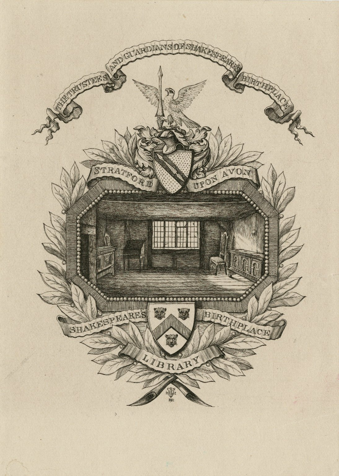 The trustees and guardians of Shakespeare's birthplace, Stratford upon Avon, Shakespeare's birthplace library [graphic] / C.W.S., R.E., 1901.