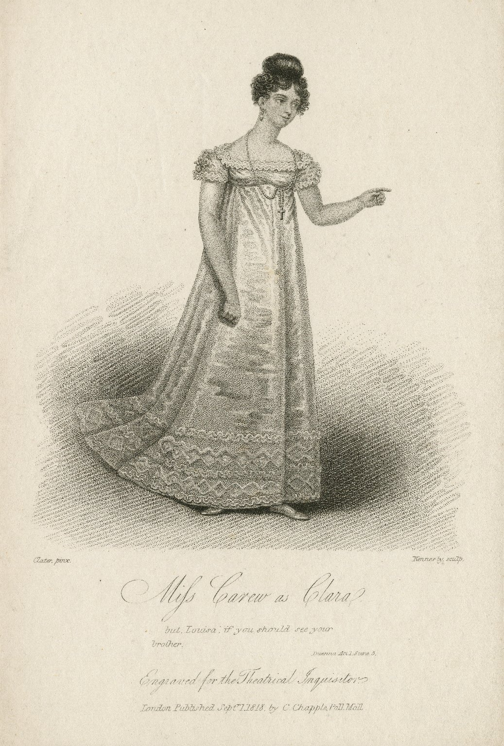 Miss Carew as Clara ... [in Sheridan's Duenna] [graphic] / Clater, pinx. ; Kennerly, sculp.