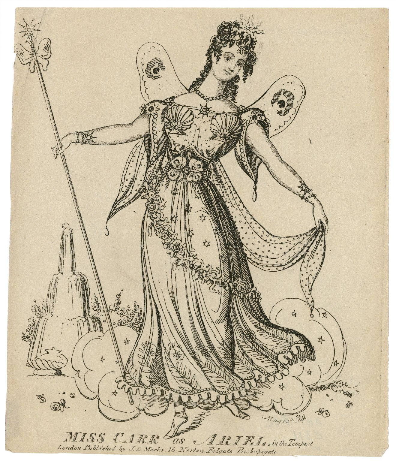 Miss Carr as Ariel [graphic] : in [Shakespeare's] The tempest.