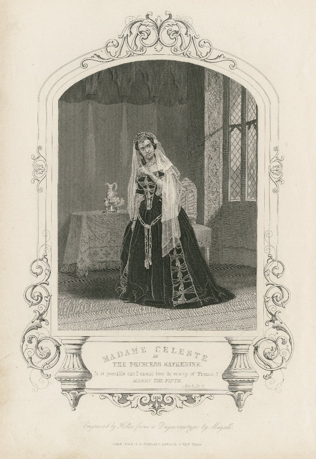 Madame Celeste as the Princess Katherine ... [graphic] / engraved by Hollis from a daguerreotype by Mayall.