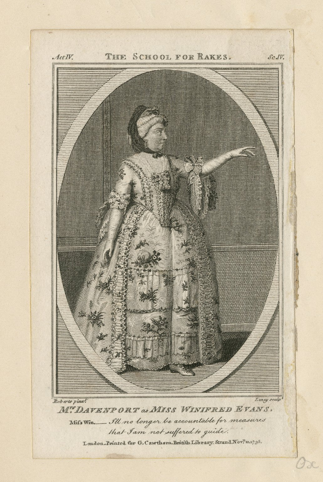 Mrs. Davenport as Miss Winifred Evans [in Griffith's School for rakes] [graphic] / Roberts, pinxt. ; Leney, sculpt.