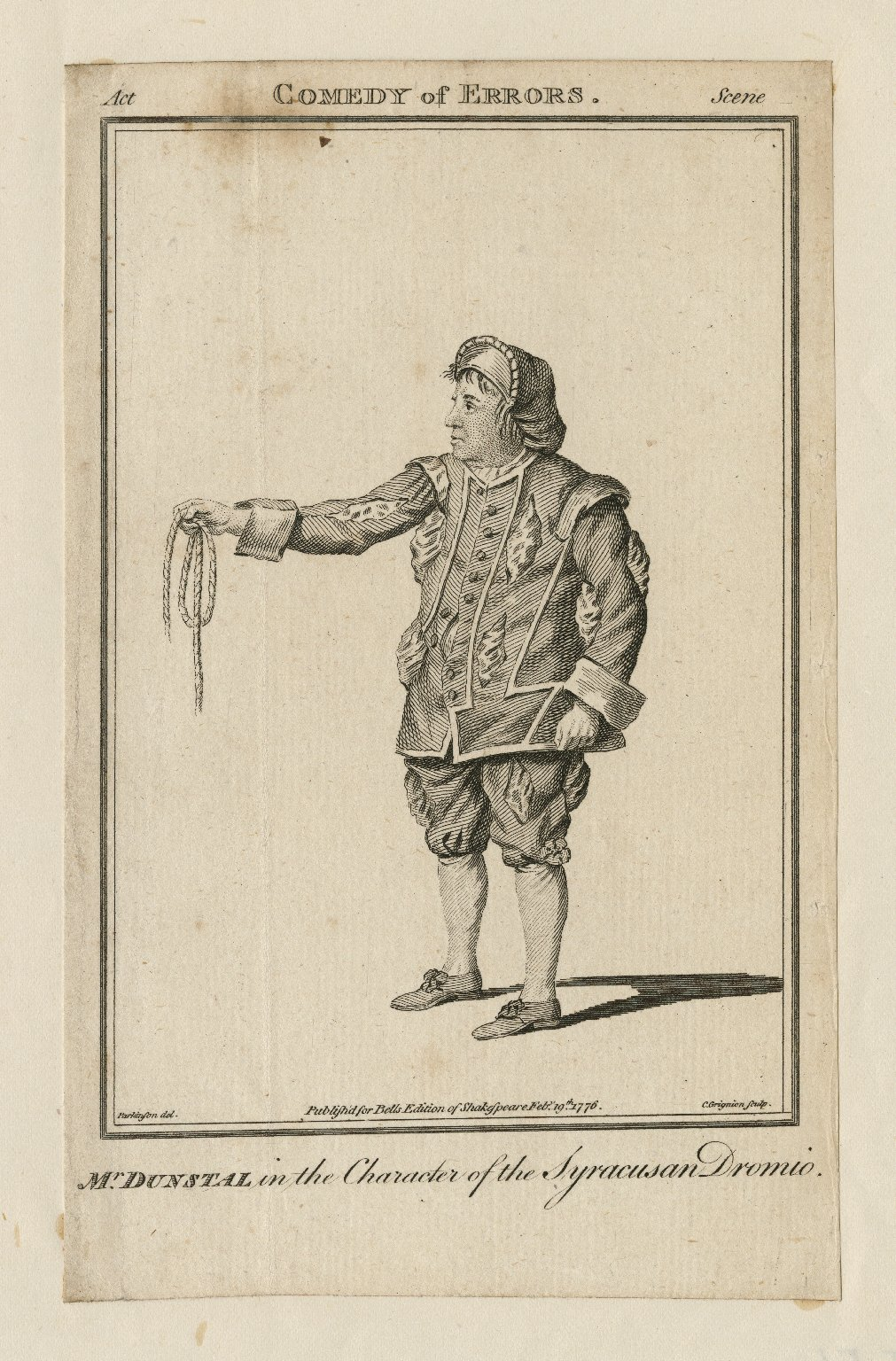 Mr. Dunstall in the character of the Syracusan Dromio [in Shakespeare's Comedy of errors] [graphic] / Parkinson del. ; C. Grignion sculp.