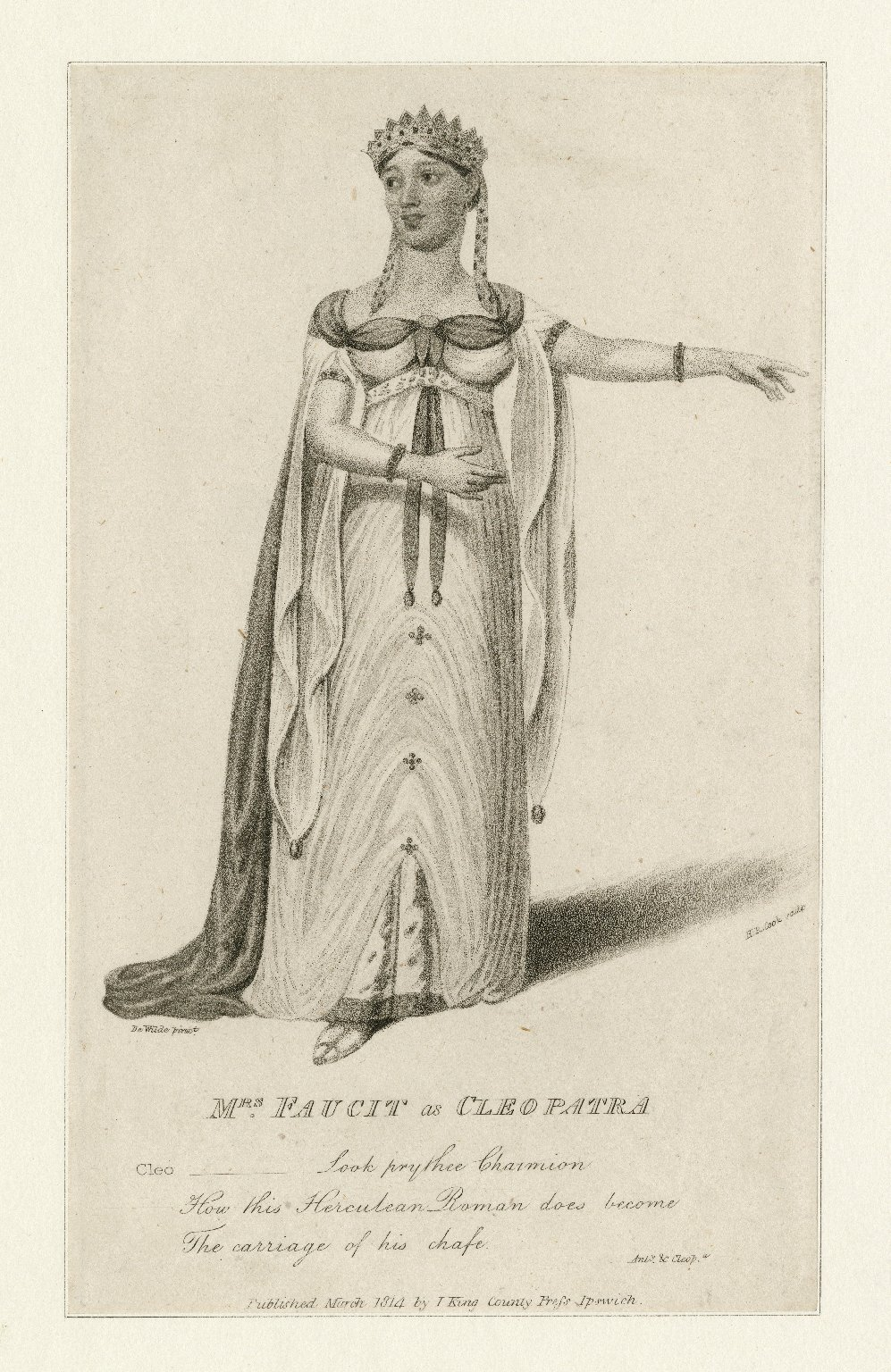 Mrs. Faucit as Cleopatra ... [in Shakespeare's] Anty. & Cleopatra [graphic] / De Wilde pinxt. ; H.R. Cook sculp.