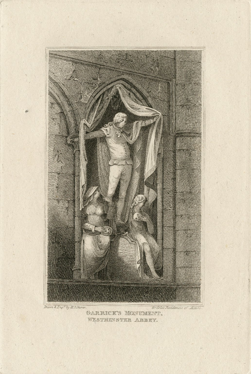 Garrick's monument, Westminster abbey [graphic] / drawn & engd. by H.S. Storer for Cole's Residences of actors.