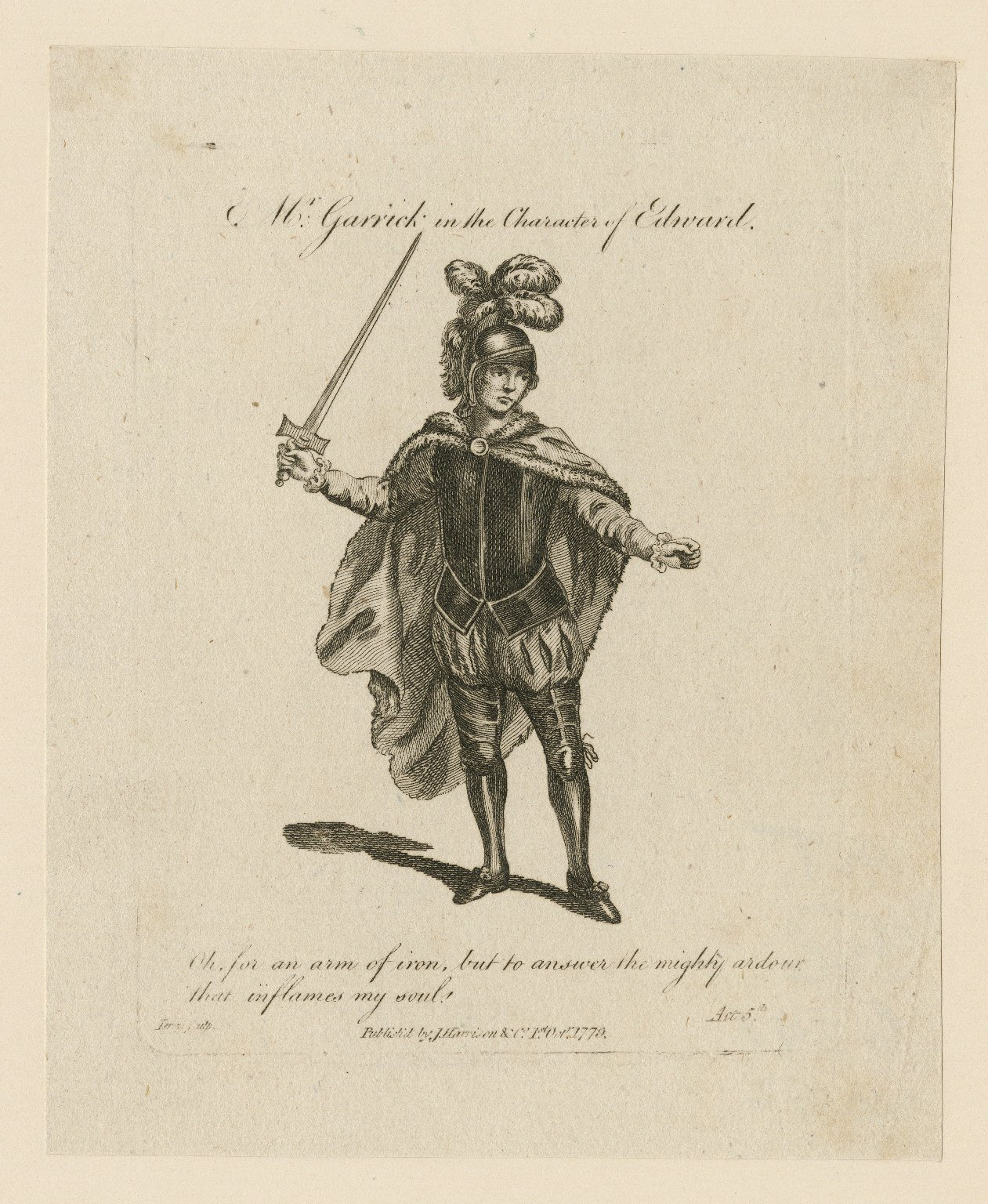 Mr. Garrick in the character of Edward ... [in Shirley's Edward the black prince] [graphic] / Terry sculp.