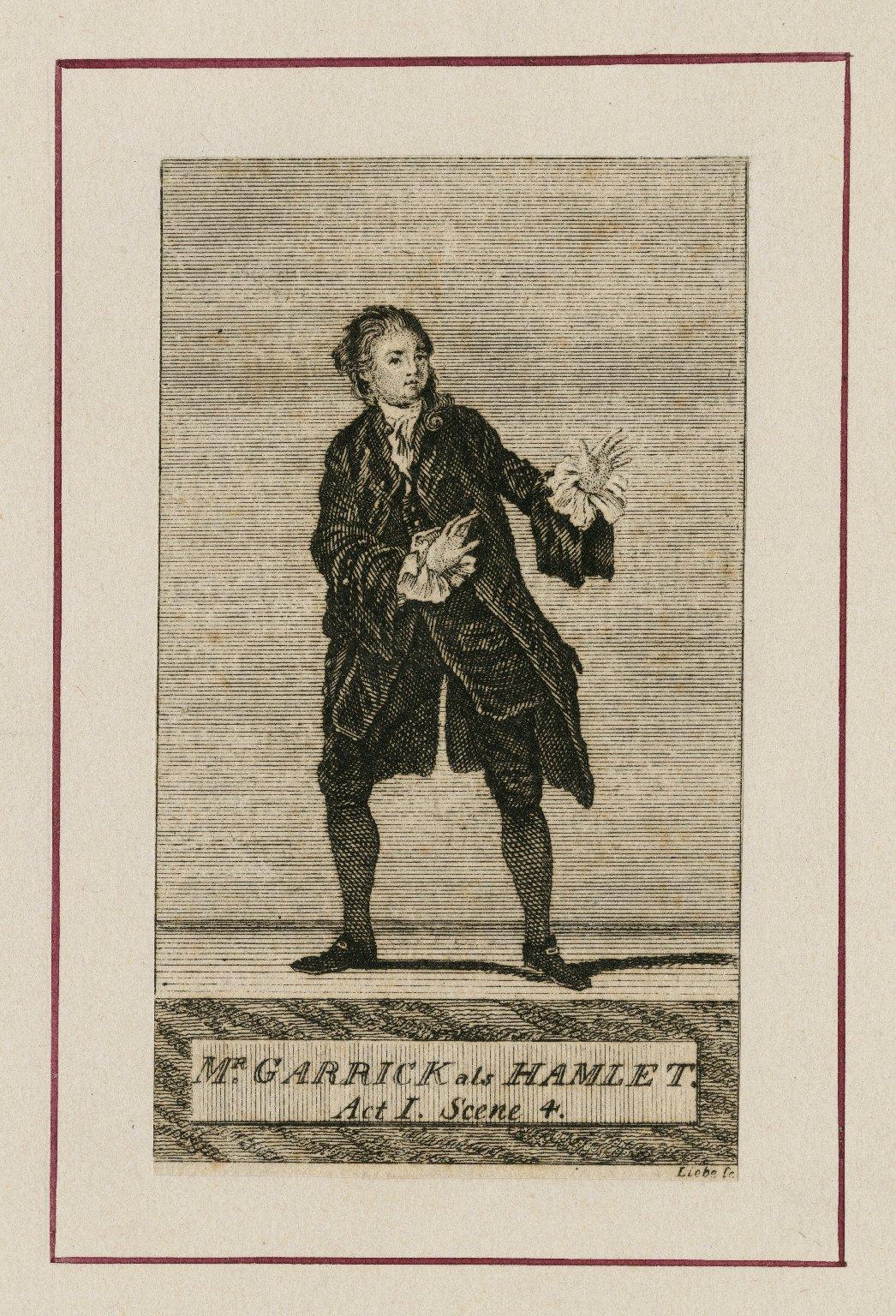 Mr. Garrick als Hamlet [in Shakespeare's Hamlet], act 1, scene 4 [graphic] / Liebe sc.
