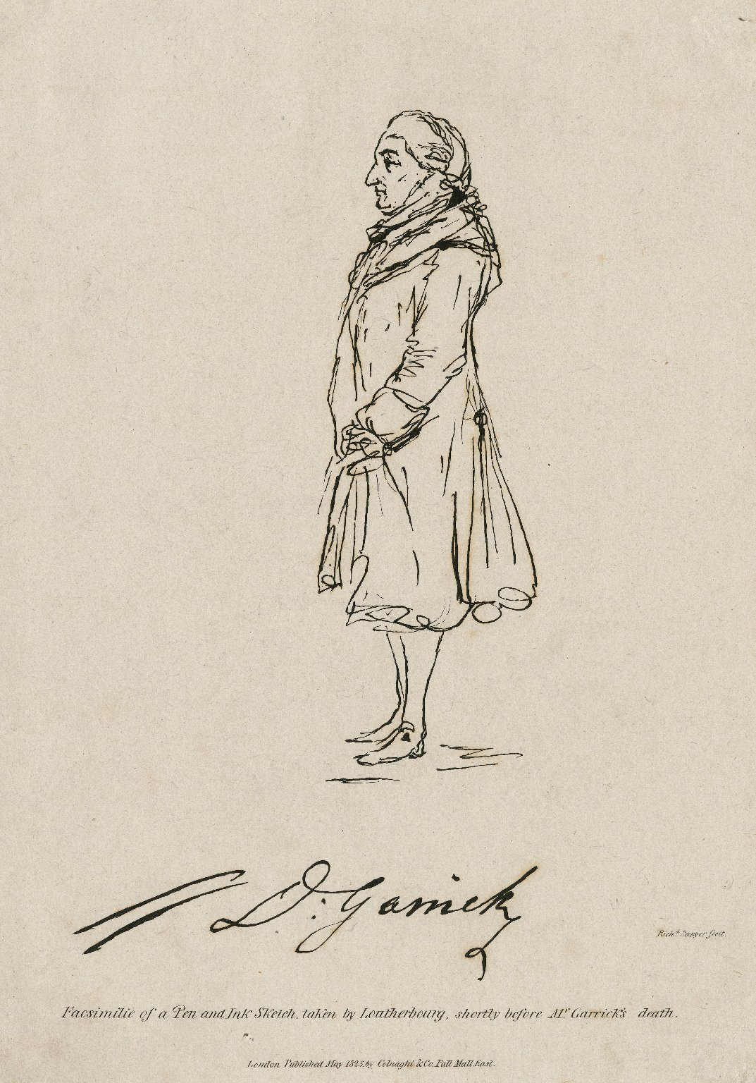 D. Garrick ... [graphic] / facsimile of pen and ink sketch, taken by Loutherbourg shortly before Mr. Garrick's death ; Richd. Sawyer fecit.