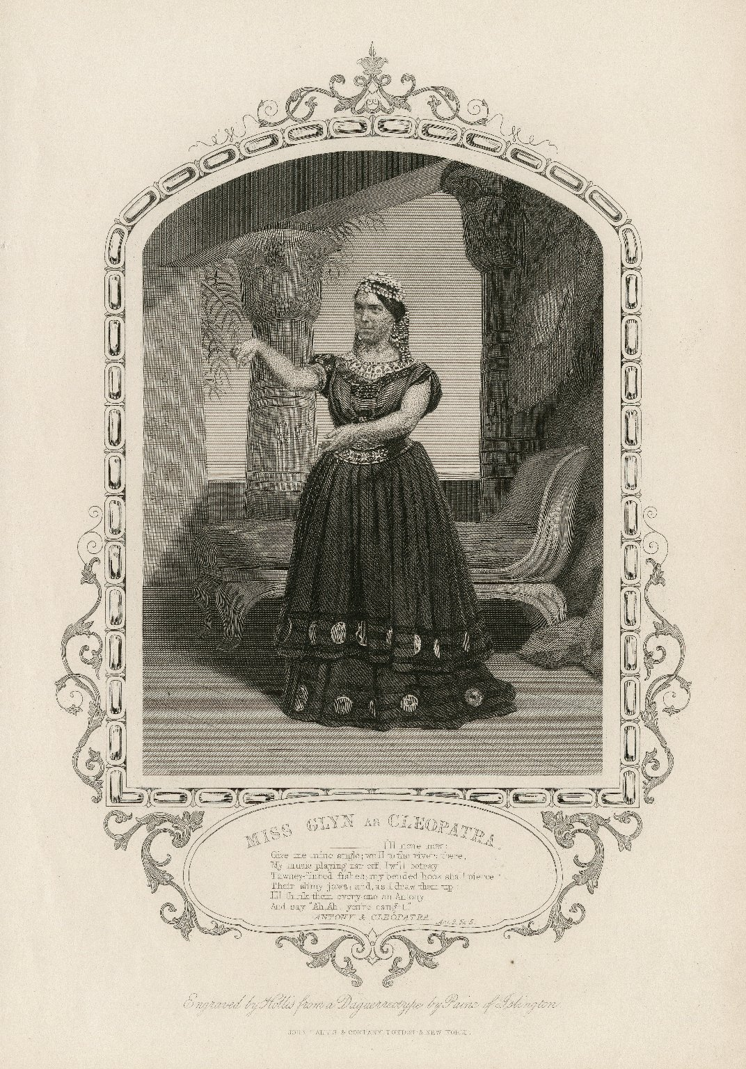 Miss Glyn as Cleopatra ... [in Shakespeare's Antony and Cleopatra] [graphic] / engraved by Hollis from a daguerreotype by Paine of Islington.
