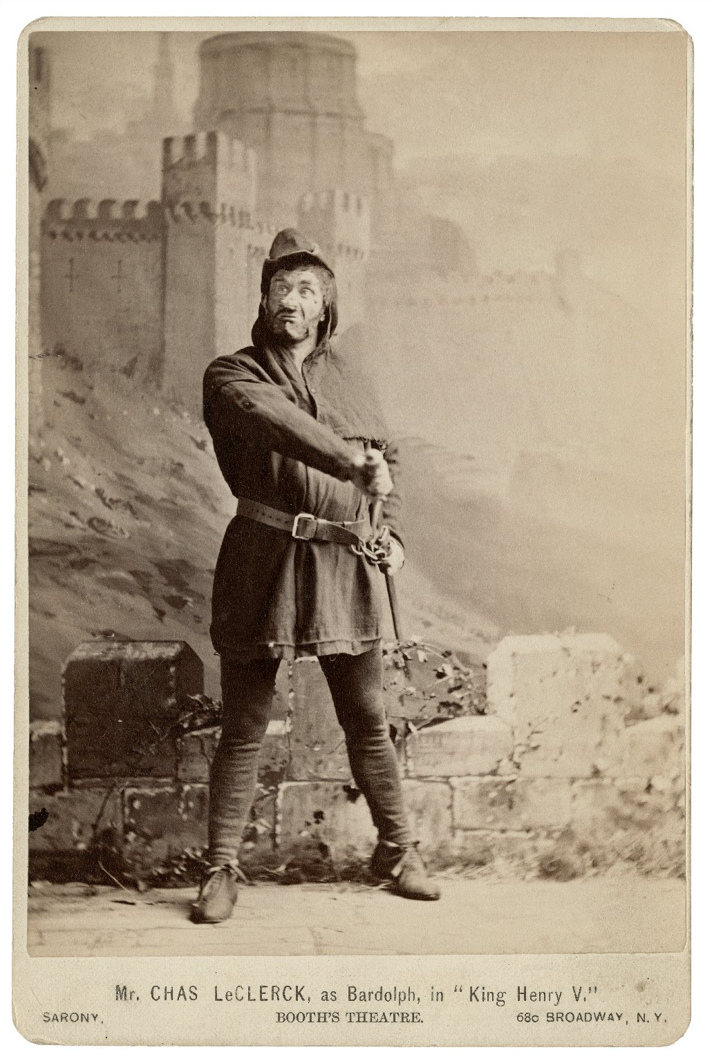 Mr. Charles LeClercq, as Bardolph, in King Henry V [by Shakespeare] Booth's Theatre [graphic] / Sarony.
