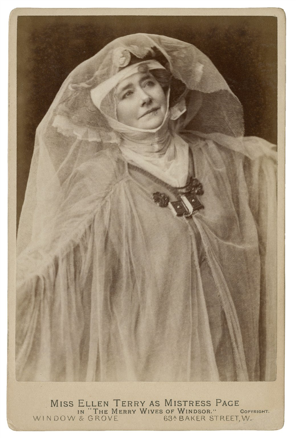 """Miss Ellen Terry as Mistress Page in """"The Merry Wives of Windsor"""" [graphic] / Window & Grove."""