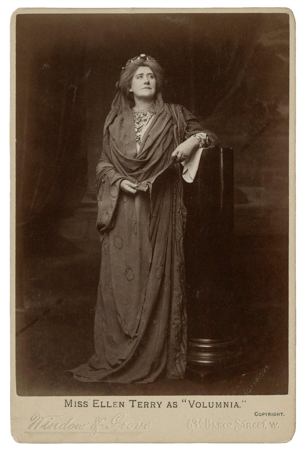 """Miss Ellen Terry as """"Volumnia"""" [in Shakespeare's Coriolanus] [graphic] / Window & Grove."""