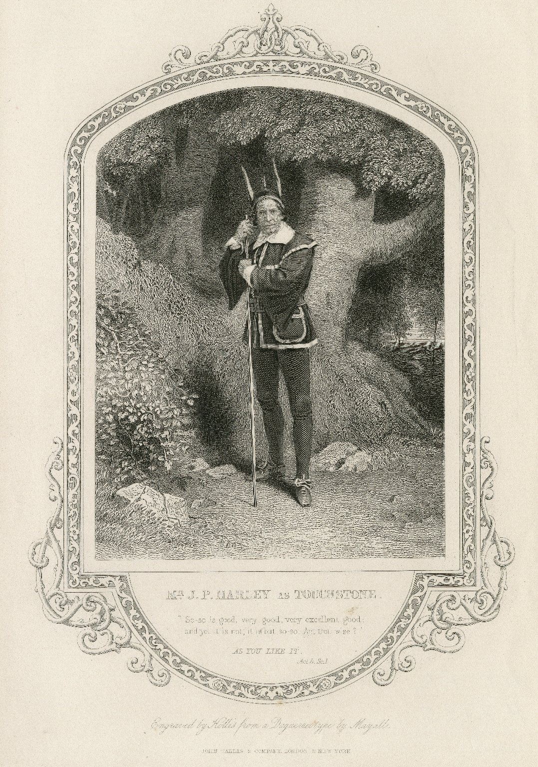 Mr. J. P. Harley as Touchstone ... [in Shakespeare's As you like it] [graphic] / engraved by Hollis ; from a daguerreotype by Mayall.
