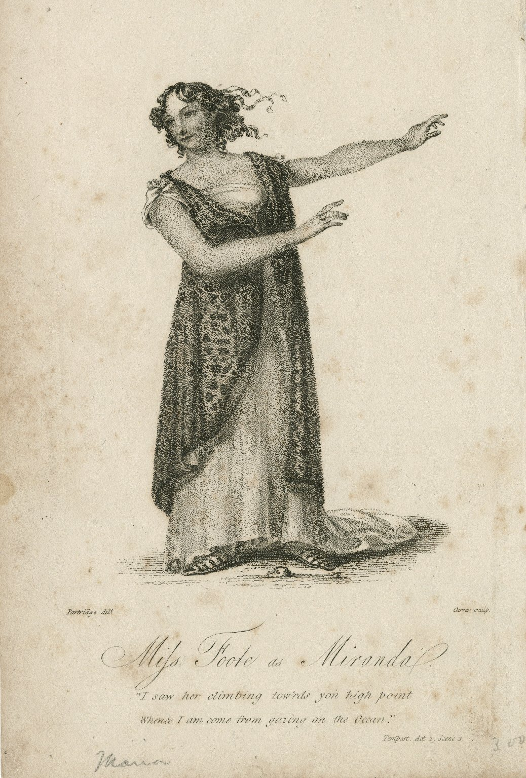 Miss Foote as Miranda ... [in Shakespeare's The tempest] [graphic] / Partridge, delt. ; Carver, sculp.