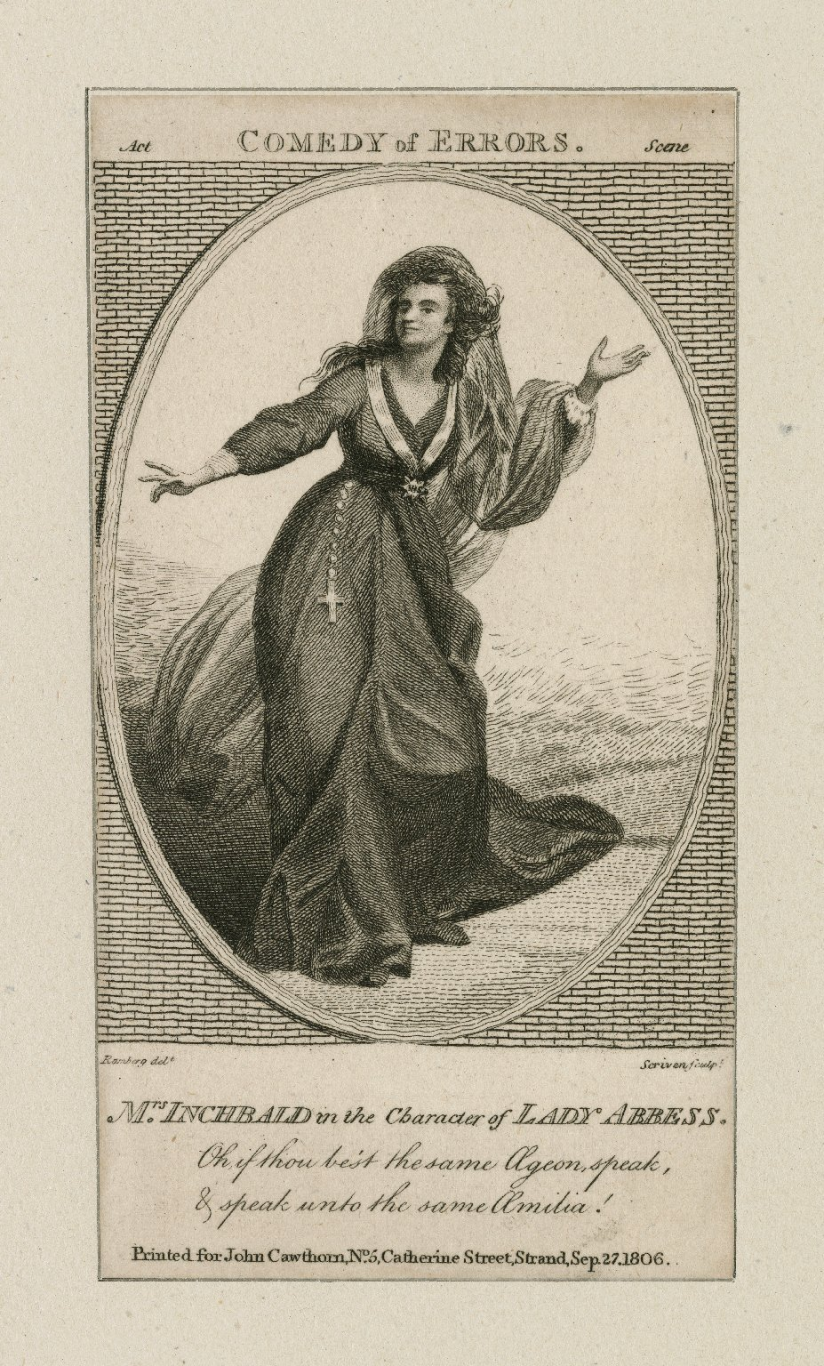 Mrs. Inchbald in the character of Lady abbess [Aemilia in Shakespeare's Comedy of errors] [graphic] / Ramberg delt. ; C. Sherwin sculpt.