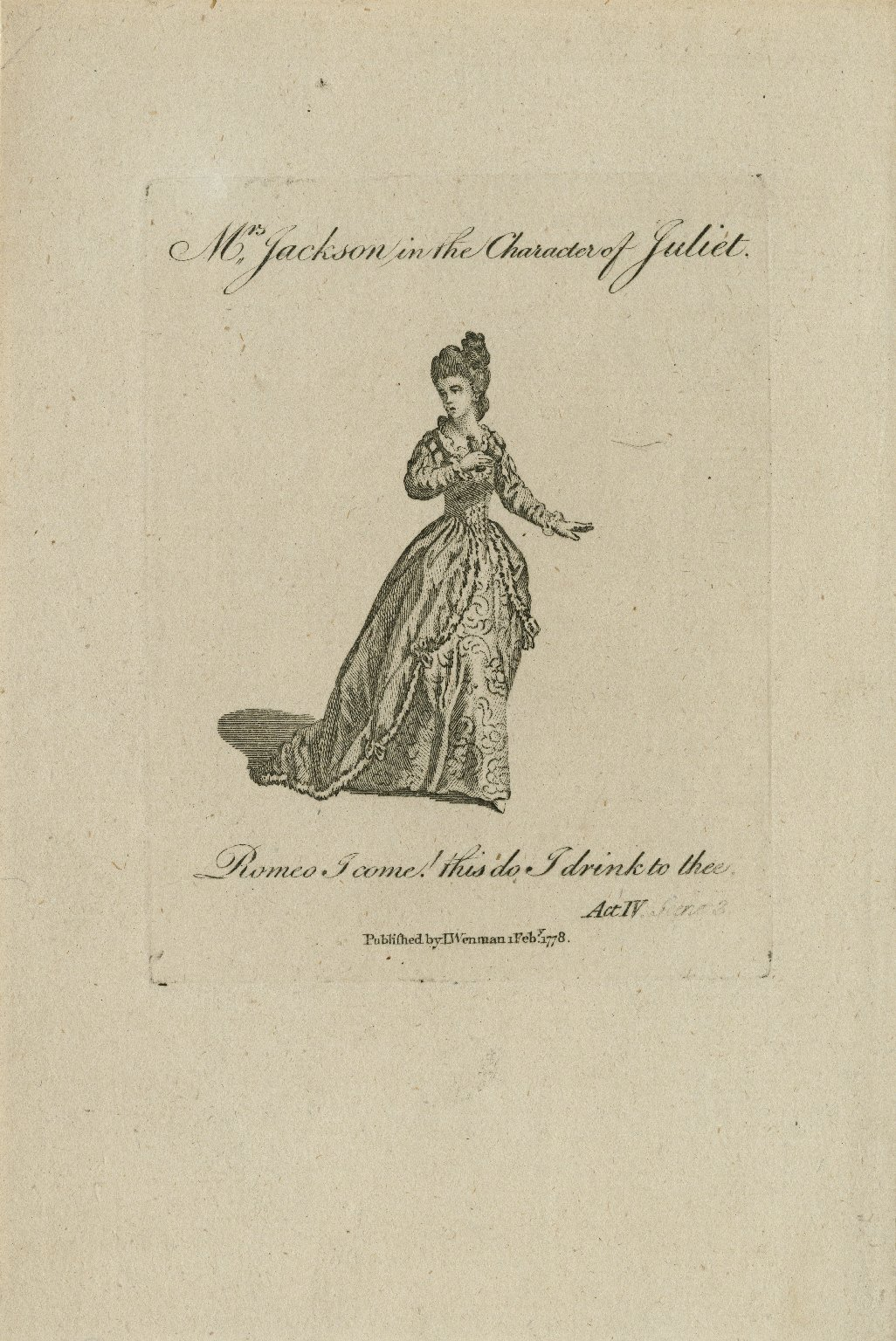 Mrs. Jackson in the character of Juliet ... [in Shakespeare's Romeo and Juliet], act IV, scene 3 [graphic].