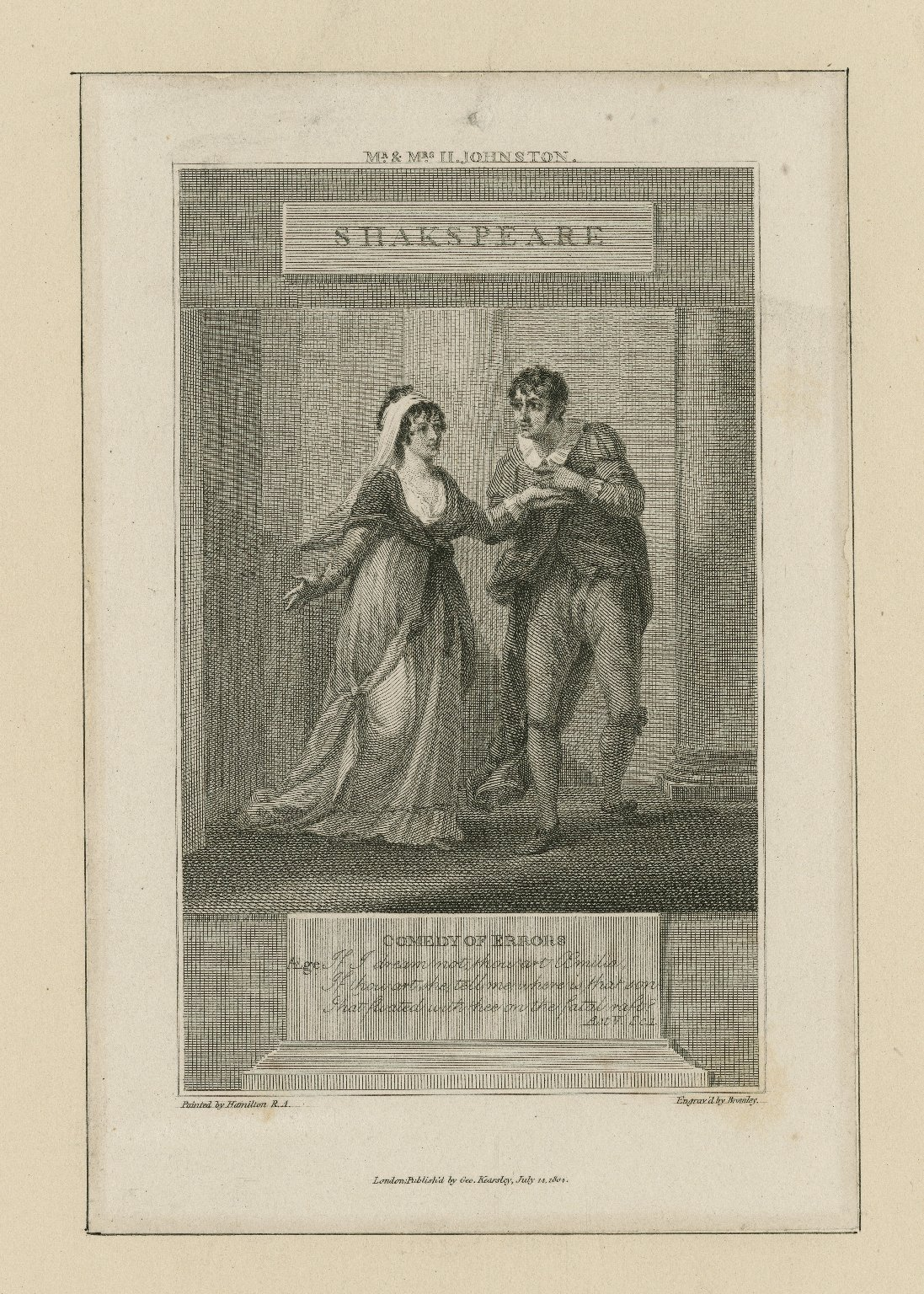 Comedy of errors ... act V, scene 1, Mr. & Mrs. Johnston [as Ægeon and Æmilia] [graphic] / painted by Hamilton, R.A. ; engrav'd by Bromley.