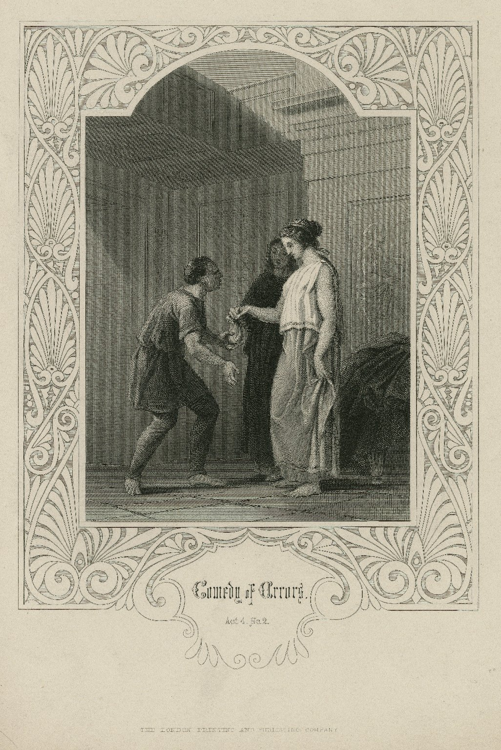 Comedy of errors, act 4, sc. 2 [graphic] / [engraved by W. Finden, from the original painting by H. Warren].