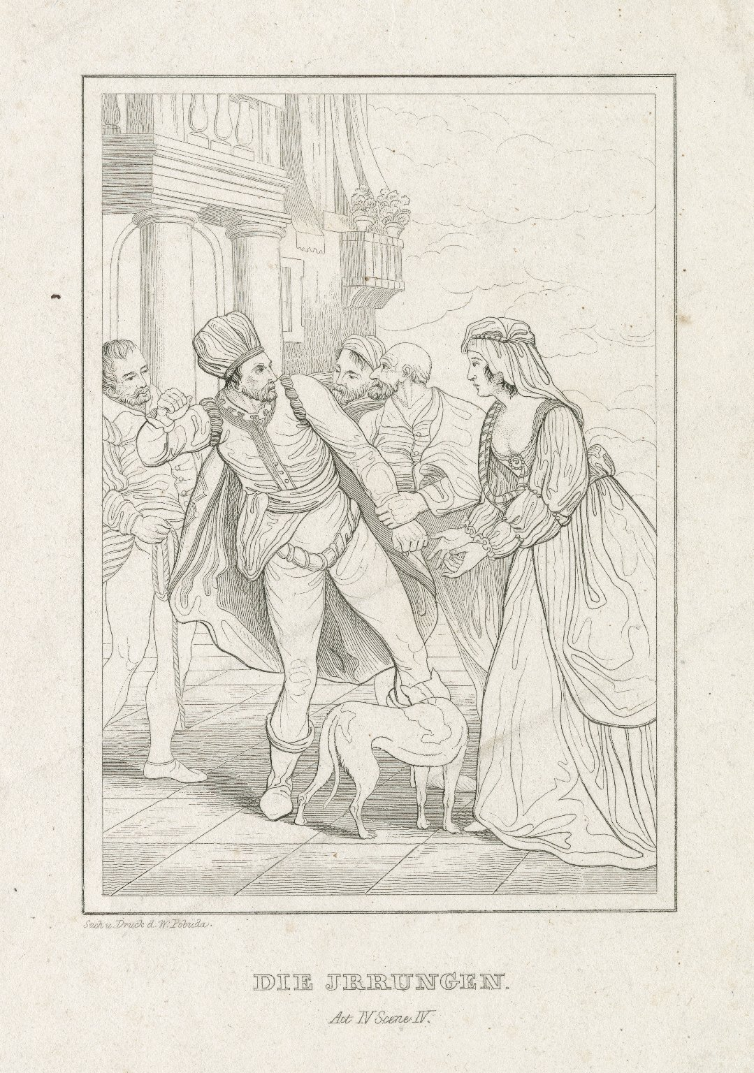 Die Jrrungen [i.e. Irrungen], act IV, scene IV [graphic] / Stich u. druck d. W. Pobuda.