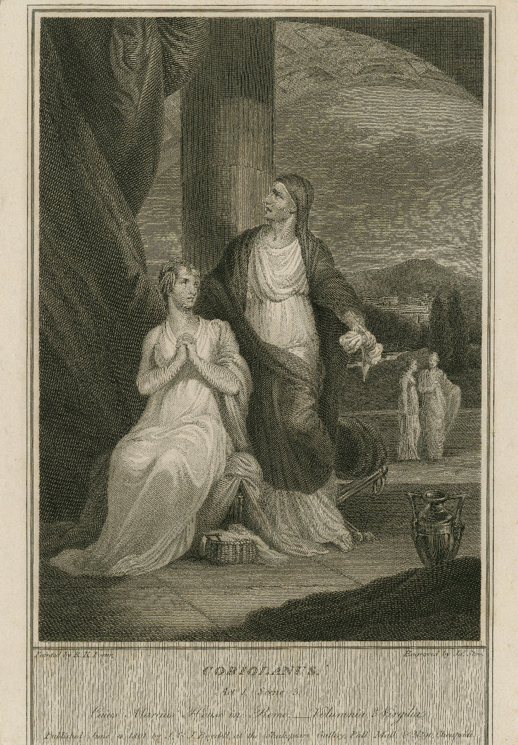Coriolanus, act 1, scene 3, Caius Marcius' house in Rome, Volumnia & Virgilia [graphic] / painted by R.K. Porter ; engraved by Jas. Stow.