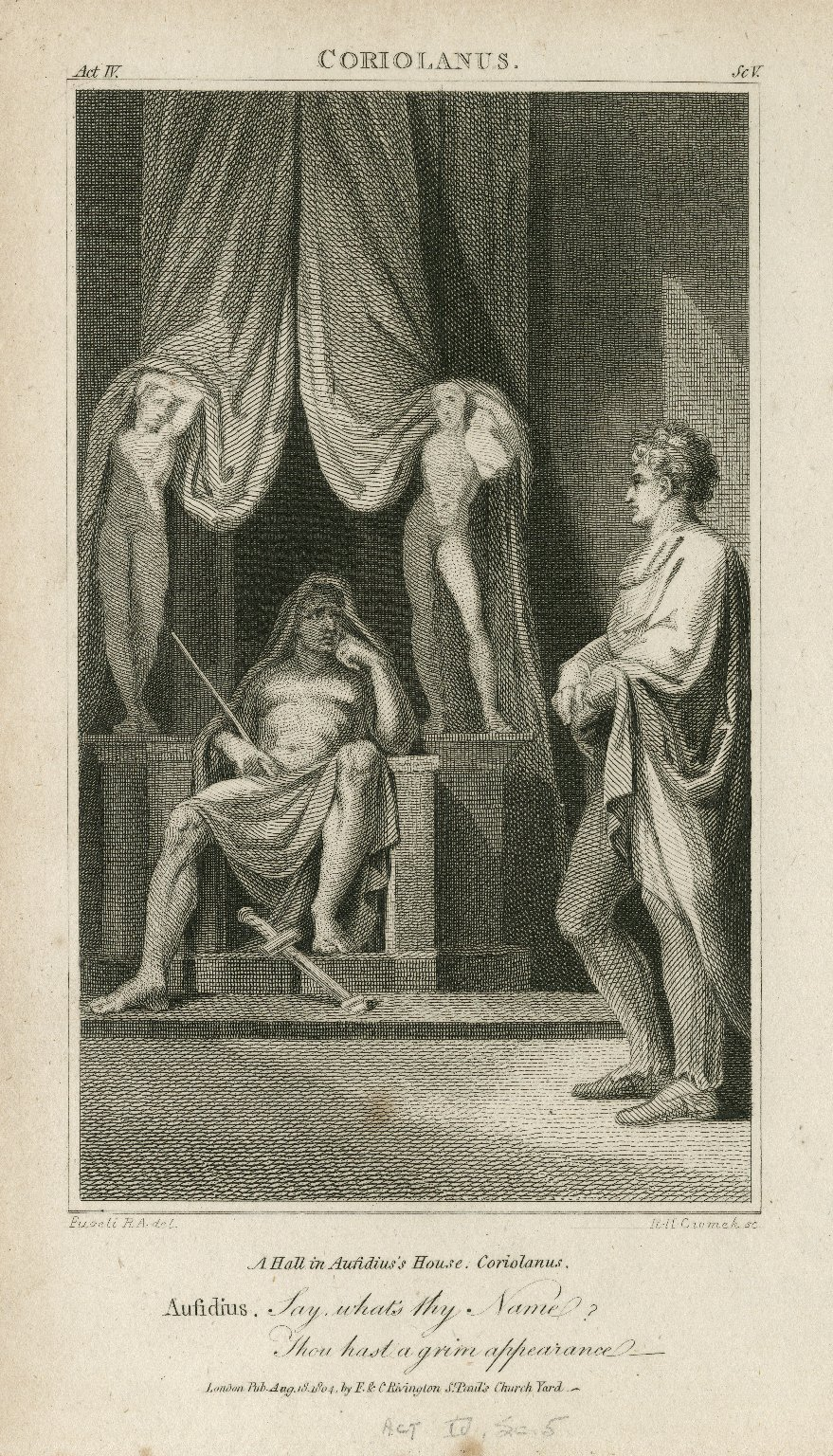 Coriolanus, act IV, sc v, a hall in Aufidius's house ... Say, what's thy name? Thou hast a grim appearance [graphic] / [Henry] Fuseli R.A., del. ; R.H. Cromek, sc.