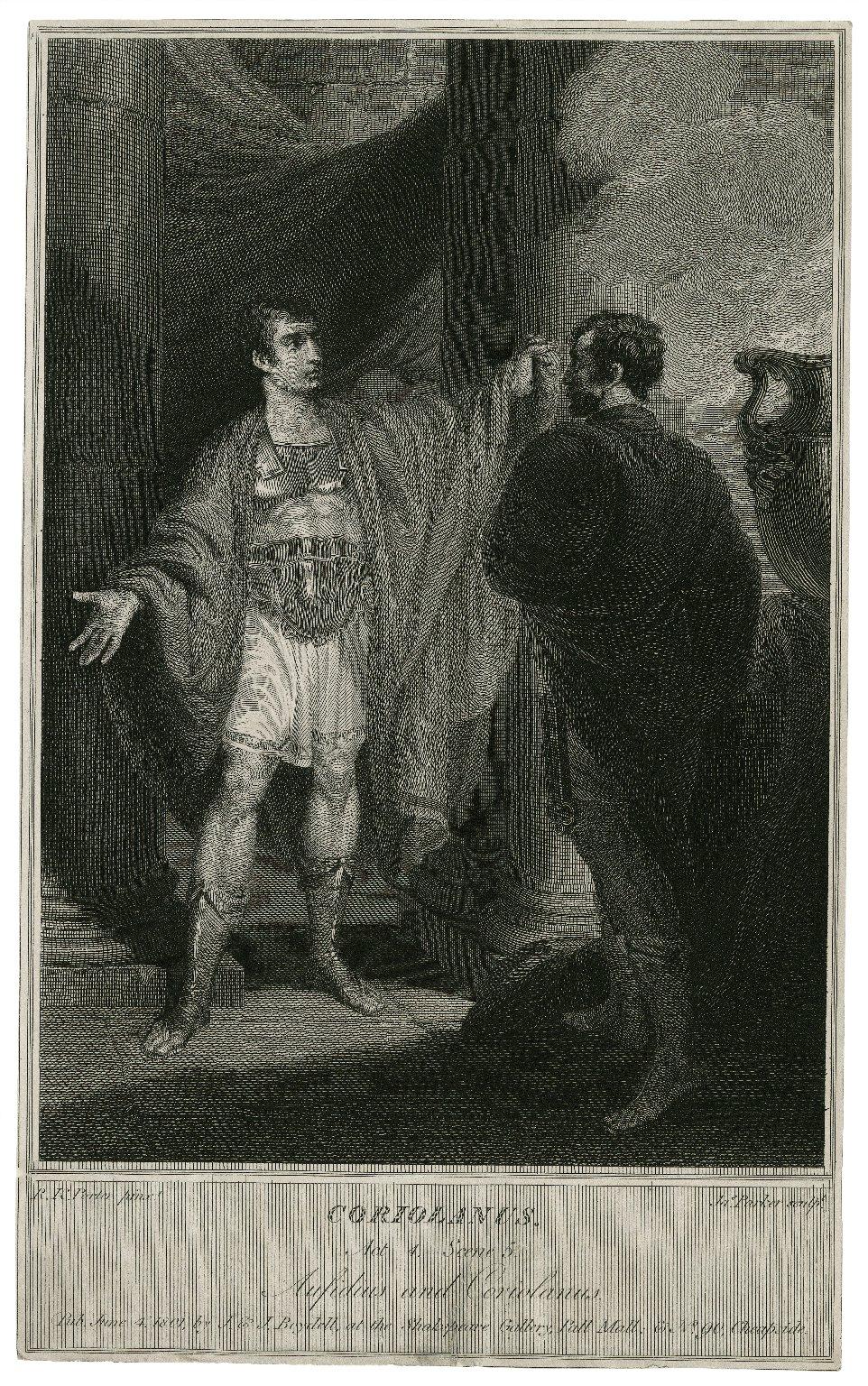 Coriolanus, act 4, scene 5, Aufidius and Coriolanus [graphic] / R.K. Porter pinxt. ; Jas Parker sculpt.
