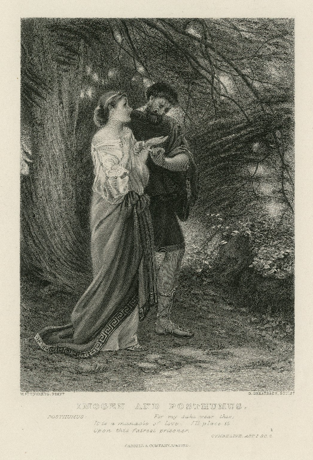Imogen and Posthumus [graphic] : for my sake wear this ; it is a manacle of love ; Cymbeline, act I, sc. 2 [i.e. 1] / M.E. Edwards, pinxt. ; G. Greatbach, sculpt.