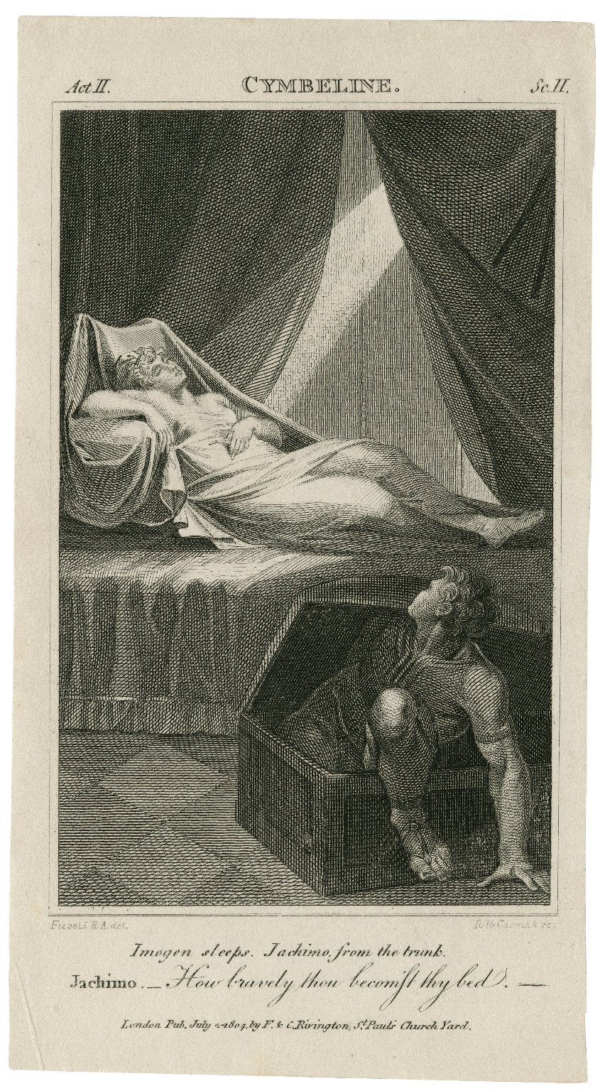 Cymbeline, act II, sc. II ... Jachimo -- How bravely thou becoms't thy bed [graphic] / [Henry] Fuseli R.A., del. ; R.H. Cromek, sc.