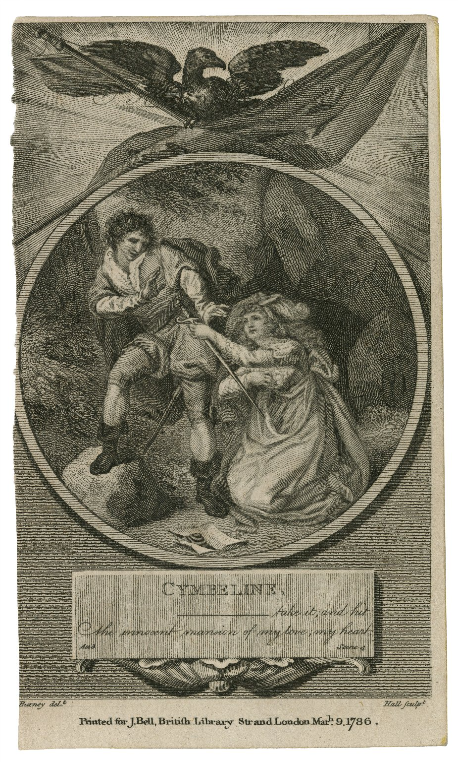 Cymbeline, Take it, and hit the innocent mansion of my love, my heart, act 3, scene 4 [graphic] / Burney delt. ; Hall sculpt.