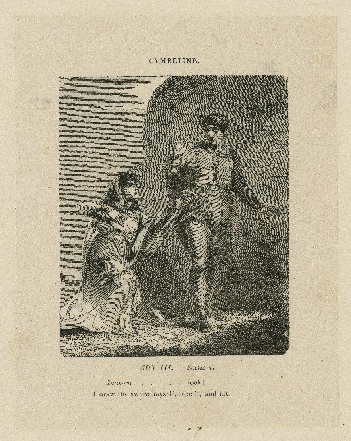 Cymbeline, act III, scene 4, Imogen ... look! I draw the sword myself, take it, and hit [graphic] / [John Thurston] ; engraved by Allen Robert Branston.