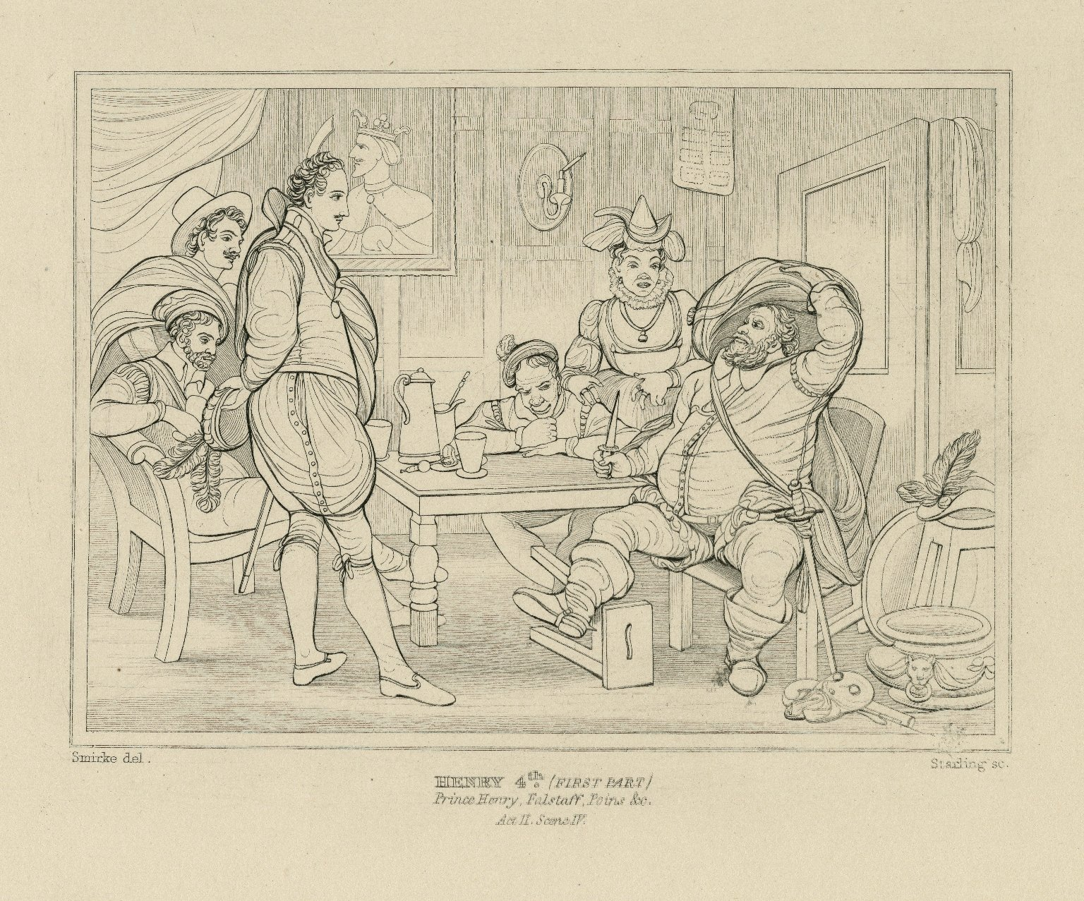 King Henry 4th, first part, Prince Henry, Falstaff, Poins, &c., act II, sc. IV [graphic] / Smirke del. ; Starling sc.