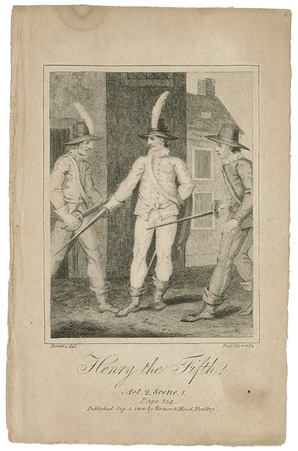 Henry the Fifth, act 2, scene 1, page 514 [graphic] / Rivers, del. ; Ridley, sculp.