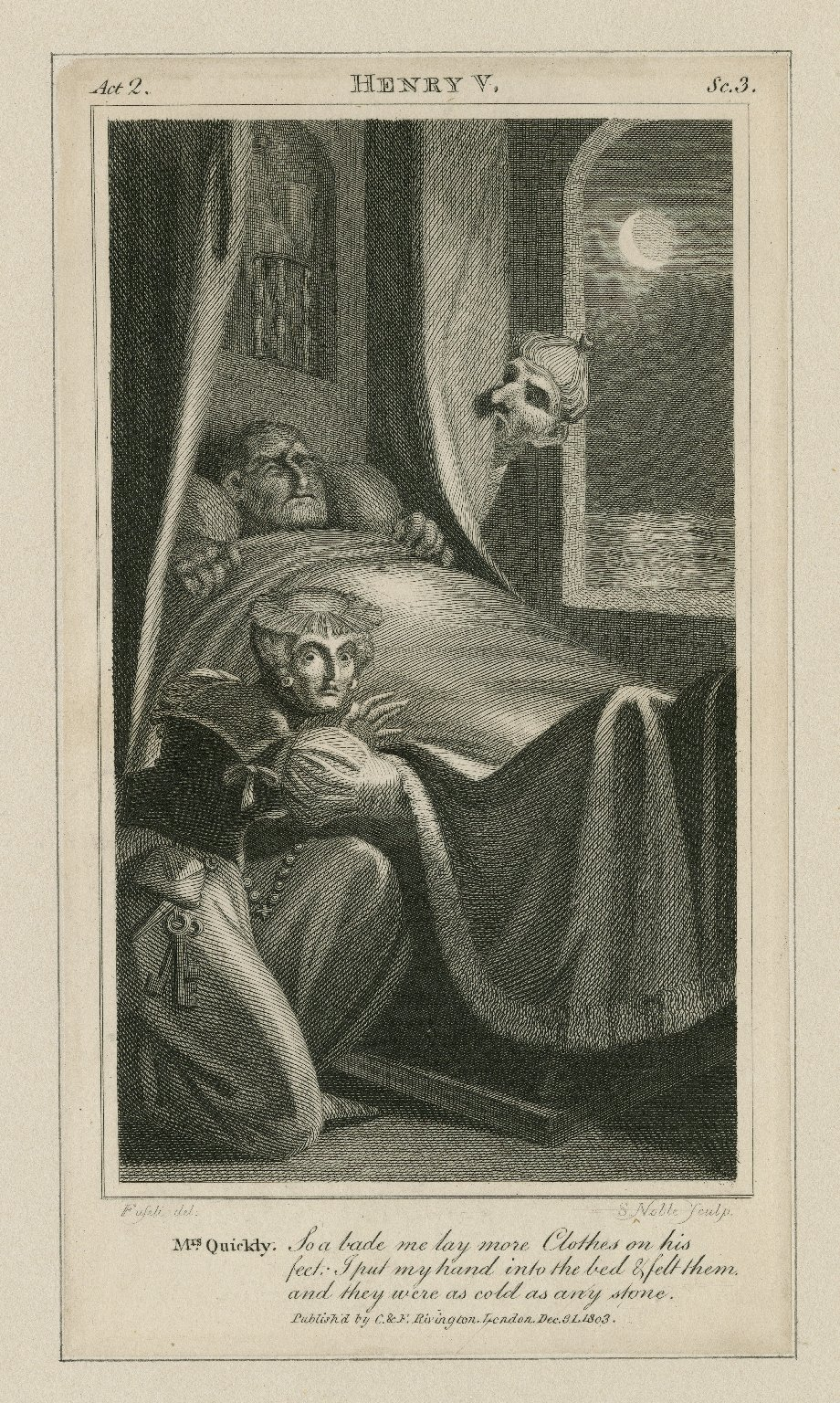 Henry V, act 2, sc. 3, Mrs. Quickly: So a bade me lay more clothes on his feet: I put my hand into the bed... they were as cold as any stone [graphic] / [Henry] Fuseli, del. ; S. Noble, sculp.