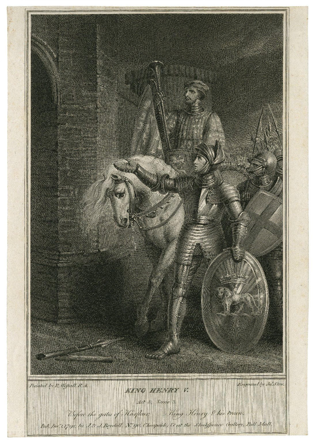 King Henry V, act 3, scene 3, before the gates of Harfleur, King Henry & his train [graphic] / painted by R. Westall, R.A. ; engraved by Jas. Stow.