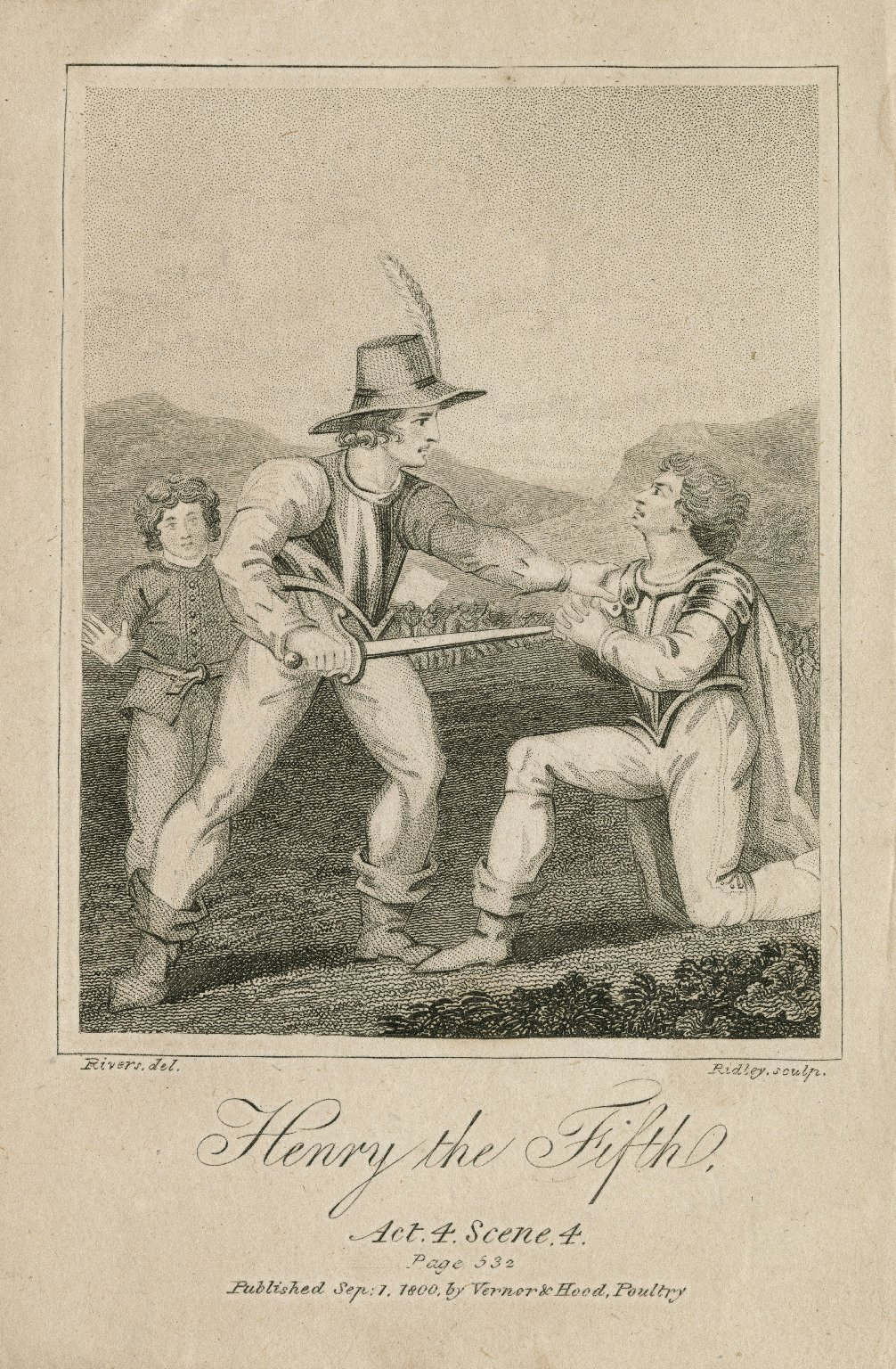 Henry the Fifth, act 4, scene 4, page 532 [graphic] / Rivers, del. ; Ridley, sculp.