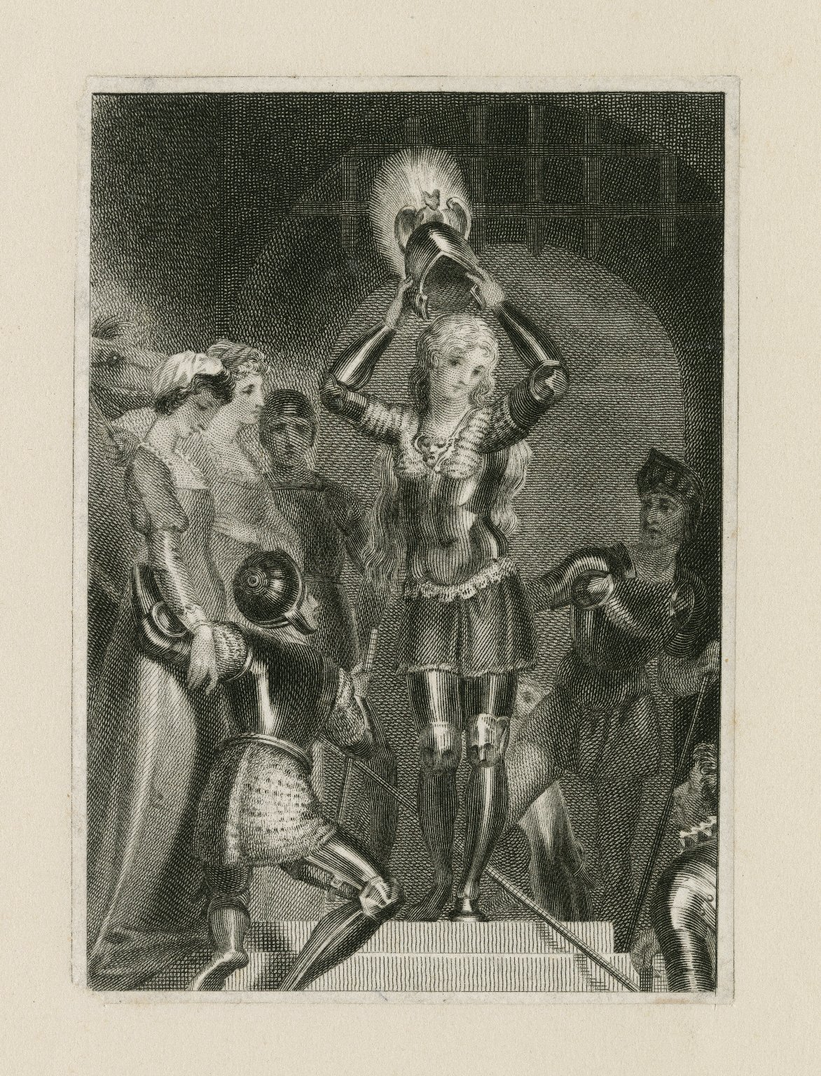 [Joan of Arc donning her helmet] [graphic].