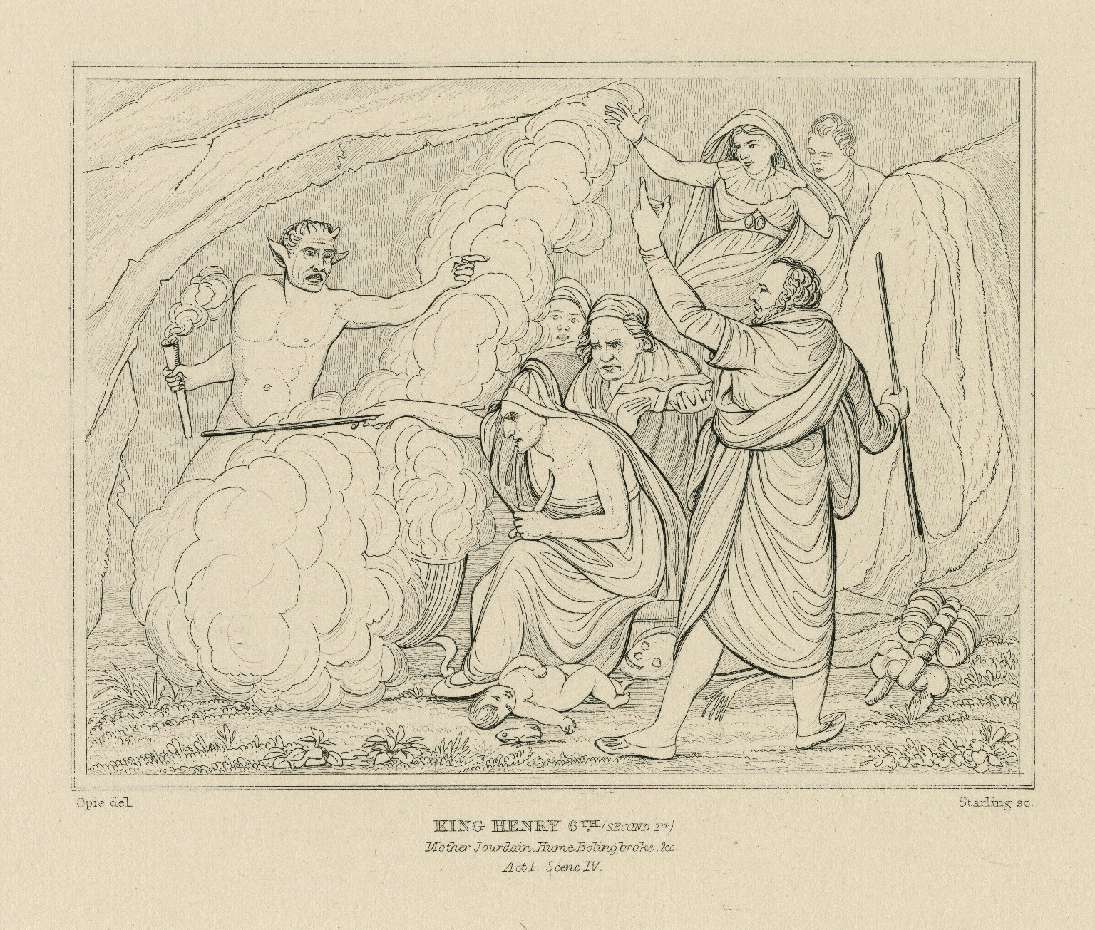 King Henry 6th (second pr), Mother Jourdain, Hume, Bolingbroke, &c, act I, scene IV [graphic] / Opie, del. ; Starling, sc.