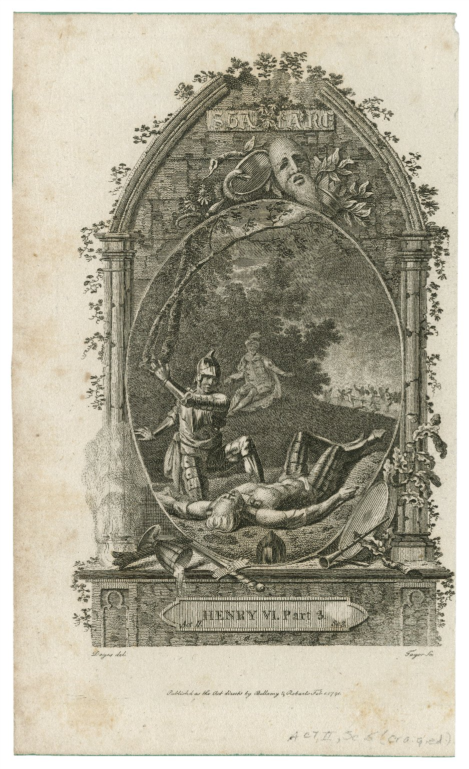 Henry VI, part 3, act II, sc. 3 [i.e. sc. 5] [graphic] / Dayes, del. ; Tayor [i.e. Taylor] sc.
