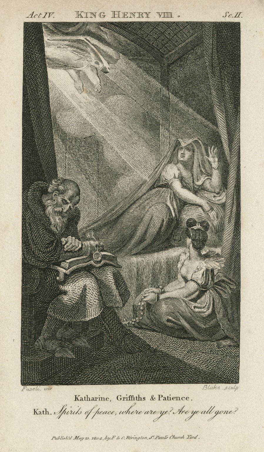 King Henry VIII, act IV, sc. II ... Spirits of peace, where are ye? Are ye all gone? [graphic] / [Henry] Fuseli, inv. ; William Blake, sculp.